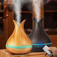 Essential Aroma Humidificateur d'air ultrasonique Diffuseur d'huiles avec grain de bois 7 couleurs LED pour Home Office