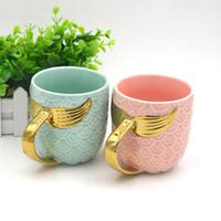 피쉬 테일 핸들 밀크 티 컵 인어 세라믹 워터 컵 진주 유약 황금 머그컵 절묘한 커피 컵 18zf k1