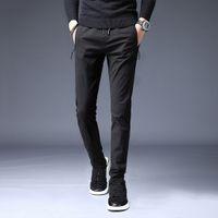 Calças Hombre Nova moda casual reta calças sólida slim Calças Pantaloni Uomo cordão longas Streetwear Pantalones