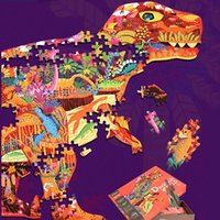 1 компл.=280 шт. толстая картонная бумага головоломка мультфильм слон динозавр дизайн детские игрушки головоломки дети раннего образования интеллект игрушки