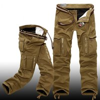 Winter Men Thick Warm Fleece Lining Loose Overalls Pants Out...