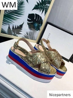 Duping520 New Women s Gold Suede Heightening Sandals High He...
