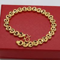 Collegamento del cuore del braccialetto di modo dei monili oro giallo 18k catena delle ragazze delle donne del braccialetto di fascino regalo polso Riempito
