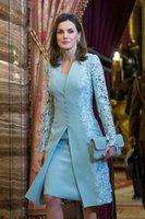 Élégant genou longueur robe de mariée robes de mariée courte deux pièces sarcelle bleue manches longues marié robe mère pour la dentelle de mariage britannique arabe