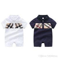 Bebek Kız Giysileri Kısa Kollu Ekose Romper 100% Pamuk çocuk Bebek Giyim 0-24 Ay Bebek Erkek Tulumlar B210