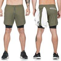 2020 Double Layer da uomo Shorts secchezza rapido Beach pantaloncini da ginnastica Jogging Correre 2 in 1 Fitness Pantaloni felpa allenamento caldo