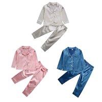 Dropshipping 2pcs niños Pijamas Silida Satin Top Pantalón Nightwear Girls Boys PJS Sleepwear