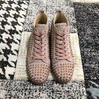[실제 사진, 상자] 고품질 레드 바닥 운동화 신발 핑크 스웨이드 스파이크 하이 탑 패션 고급스러운 남성, 여성 캐주얼 신발