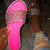 Sandalias de verano para mujer Bling Slippers Ladies Crystal Diapositivas Pisos Gladiadores Sandalias Mujeres Playa Zapatos Mujer Sandalia Feminina