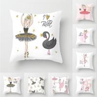 1 adet Bale Dans Kız Yastık Kapak 45 * 45CM Polyester Kız Yastık En Hediyeler atmak Odası Koltuk Ev Dekorasyonu Yastık Örtüleri