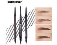 새로운 음악 꽃 눈 메이크업 매트 더블 헤드 눈썹 연필 + 액체 눈썹 색조 워터프 오래 지속되는 천연 화장품