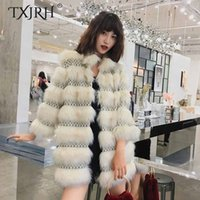 TXJRH 2018 alla moda Leopard Patchwork a strisce lunghe pelose Shaggy Faux Fur Outwear Mid Long Keep Warm Jacket Coat Stand Collar Tops