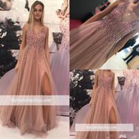 2019 Sparkly frisado empoeirado rosa vestido de baile longa uma linha sem mangas formal vestido de festa de noite elegante cristais plus tamanho concurso vestido bc1560