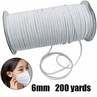 200 Yards 6mm Plano elástico Briaded Knit corda Cord Para Costura Artesanato Branco Preto elástico