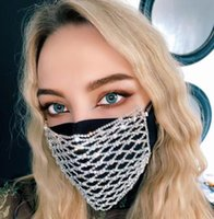 Bling Strass Maske Mesh-Strass-Gesichtsmaske Jewlery für Frauen höhlen elastischen Gesichtskörperschmuck Nachtclub-Party-Masken GGA3437-1