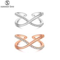Zirkonia Infinity Symbol Kreuz Offen Ring CZ immer Endless Love Promise-Band-Ring Ewigkeit Freundschaft Band Silber für Frauen-Mädchen-Z