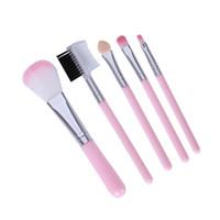 Pennelli trucco rosa per principianti Tools Kit Ombretto Eyeliner del sopracciglio di labbro del ciglio della spazzola di trucco 5 pc / lotto