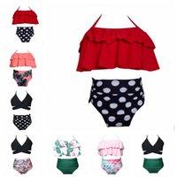 Bebek Kız Mayolar Çocuk Askı Bikini Suits takımları fırfır Sling Tops Yüksek Bel Külot 2adet Yaz Mayo Beachwear ZYQA554 ayarlar