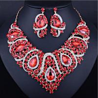 Explosion Harz-Kristallrhinestone-Farben Halsketten-Ohrringe Afrika, Naher Osten übertriebenen Brautschmuck