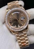패션 바게트 다이아몬드 베젤 시계 일 날짜 기계 운동 남성 시계 금 스테인레스 스틸 남성의 스포츠 손목 시계 40MM 장미