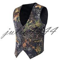Camo impressão noivo coletes caçador coletes de casamento camuflagem fina ajuste homens coletes v pescoço feito sob encomenda