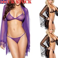 Donne Sexy Lingerie Sleepwear Lace G-string lungo accappatoio Notte abito Robe 3Pcs