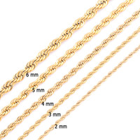 High Quality Gold Plated Rope Chain Stainless Steel Necklace...