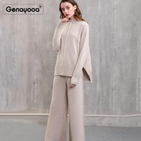 Genayooa высокого качества кашемира Tracksuit зимы женщин Два Piece Set штаны 2 шт Набор женщин свитер + штаны Управление леди Корейский