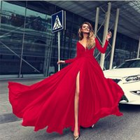 2019 Red V- Neck Prom Dresses Sexy Long Sleeve Backless Floor...