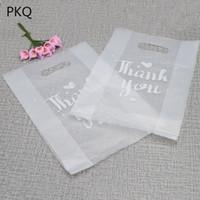 100 stücke transluzente Plastiktüten, danke Plastiktüten, Hochzeitsfeier Favor Retail-Taschen für Boxen