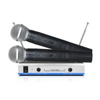 MV-744 VHF economico doppio microfono wireless con ricevitore in metallo Trasmettitore ABS per registrazione in studio di schede audio Insegnamento scolastico