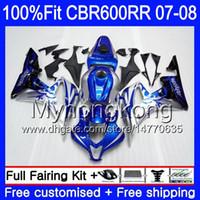 Kit de inyección para HONDA CBR 600RR 600F5 CBR 600 RR F5 07 08 283HM.2 CBR600F5 Marco azul plateado CBR600RR 07 08 CBR600 RR 2007 2008 Carenados