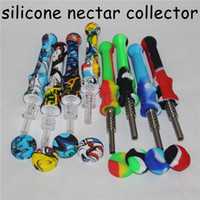 New Silicone Vidro Nectar Collector com 14 milímetros Titanium Quartz Dicas Silicone Container Recuperadora Nectar Collector Kit para Fumar