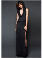 Forma-Halloween Vampiro Vestido Sexy Leaky Voltar Slit mangas Hat vestido medieval preto e cores roxo das mulheres de vestidos de 2019