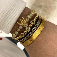 3pcs / Set + Bracelet en acier en acier de titane romain Couple Charme Bracelet / Couronne / pour amants / Bracelets pour femmes Hommes Bijoux de luxe Luxe Tainless Cadeau Saint Valentin Noël