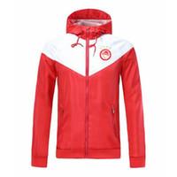 olympiakos Futbol fermuar rüzgarlık uzun kollu ceket ceket kış spor futbol rüzgarlık hoodie ceket spor erkek ceketler