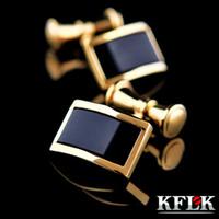 Kflk Camisa Gemelos Para Hombre Marca Oro-color Cadena Gemelos Moda Botón de Alta Calidad de Lujo Novio de Boda Envío Gratis T190701