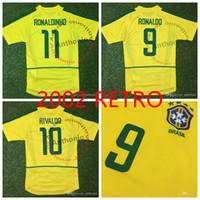 أعلى 2002 برازيل ريترو لكرة القدم الفانيلة خمر كلاسيك رونالدو 9 ريفالدو 10 r.carlos 6 رونالدينيو 11 البرازيل تايلاند جودة زي كرة القدم camiseta فوتبول