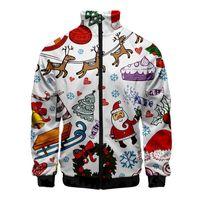 Noel Tasarımcı Erkek Kapüşonlular Sonbahar Moda Dijital Baskılı Erkek Ceket Casual Hırka Erkek fermuar ile Tops