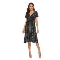 Frauen Chiffon Beach Rock Sommer Neue V-Ausschnitt Sexy Wave Dot Print Kleid Urlaub Kurzärmelige Böhmische Kleid 3 Farbe Größe S bis XL