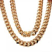 Aço inoxidável Jóias de ouro 18K alta polido Punk 15 milímetros Containment Cadeia de colar Homens Miami cubana Fazer a ligação Duplo Segurança Buckle 55cm-