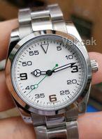 الأعلى الأبيض الميكانيكية رجالي الفولاذ المقاوم للصدأ 2813 الذاتي الرياح الحركة التلقائية AIR KING وتش الرياضة الساعات ساعة اليد أزياء
