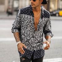 Pulsante Shirt Mens di stile etnico Stampato da uomo risvolto collare dell'annata a maniche lunghe camicetta High Street Mens camice casuali Asiatica Misura