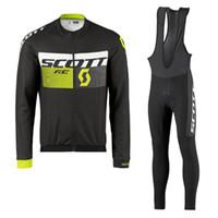 2021 Pro Scott Team Long Sleeve Cycling Jersey Set 남성 통기성 3D 패딩 된 턱받이 바지 산악 자전거 의류 자전거 스포츠 유니폼 Y2104011