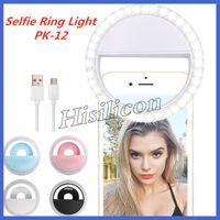 Fasion Özçekim LED Halka Işık PK-12 Işık Flaş Lambası Kamera Fotoğrafçılığı için USB Şarj Ile iPhone Samsung HUAWEI + Perakende Kutusu