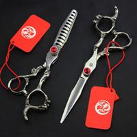 6 pollici Giappone 440C Drago Maniglia Dritto Taglio di assottigliamento Scissor Stile Parrucchiere Stile Clipper Clipper Barber Shop Tool