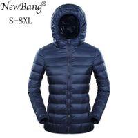 NewBang Марка 7XL 8XL вниз куртка женщин с капюшоном Ultra Light пуховик Женщины Плюс перо Зима Тонкие Теплый Ветровки Пальто