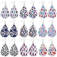Art und Weise PU-Leder-Ohrringe für Frauen Double Side baumeln Ohrringe Oval Wassertropfen Kunstleder Ohr Partei Hochzeit Schmuck