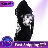 Rosetic Black Hoodie Sweatshirt Women Plus Size Coat Punk Gothic Print Hooded Hipster Streetwear Big Sizes 5XL Goth Dark Hoodies 200922