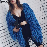Warm Knitting Shaggy Jacket Coat Women Sweater Soft Black Fe...